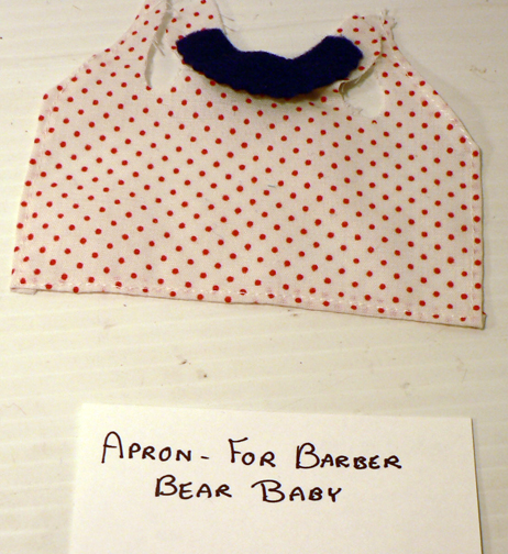 new re-placement,..''APRON FOR BARBER BEAR BABY''