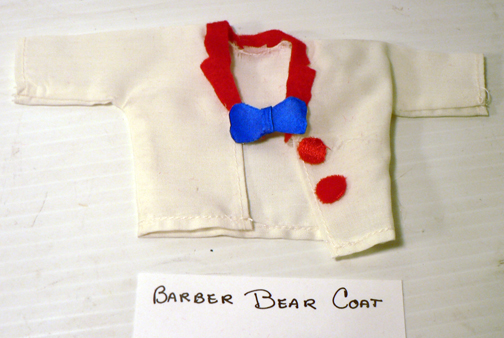 new re-placement,..''BARBER BEAR COAT red trim''