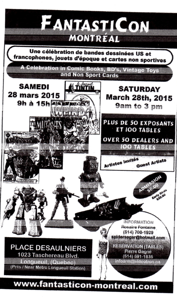 LONGUEUIL TOYS AND COMICS SHOW 10 Octobre 2015